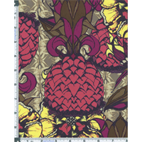 Taupe/Berry Tina Givens Dovecote Doves Lane Print Cotton
