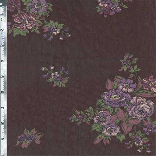 Raisin Lavender Floral Bouquet Print Crepe Chiffon 57199