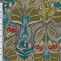 *3 5/8 YD PC--Mushroom Art Nouveau Print Satin Charmeuse