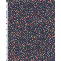 *3 1/8 YD PC--Navy/Rose Ditsy Rose Floral Cotton