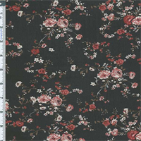 *4 1/2 YD PC--Black/Red Floral Chiffon