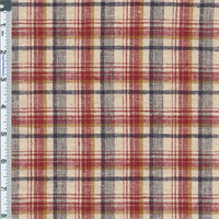 *2 3/4 YD PC--Red Madras Plaid Stretch Cotton/Linen