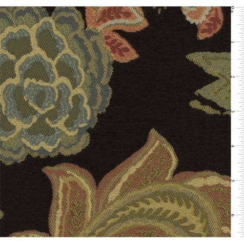 Black/Multicolor Floral Jacquard Chenille Home Decorating