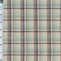 *3 YD PC--Aqua Blue Madras Plaid Stretch Cotton/Linen