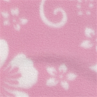 *2 YD PC--White Floral on Pink Fleece