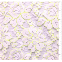 *3/4 YD PC--White/Neon Green Floral Lace