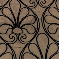 Taupe/Black Scroll Velvet Home Decorating Fabric