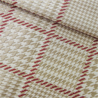 Beige/White/Red Houndstooth Plaid Home Decorating Fabric