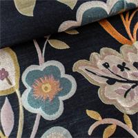 Multicolor/Black Silk Garden Floral Jacquard Home Decorating Fabric