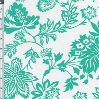 *2 3/4 YD PC--White/Green Floral Print Lawn