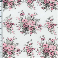 *3 YD PC--White/Pink Floral Bouquet Lawn