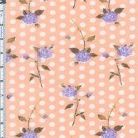 *3 3/4 YD PC--Vintage Peach Floral/Dot Cotton Lawn