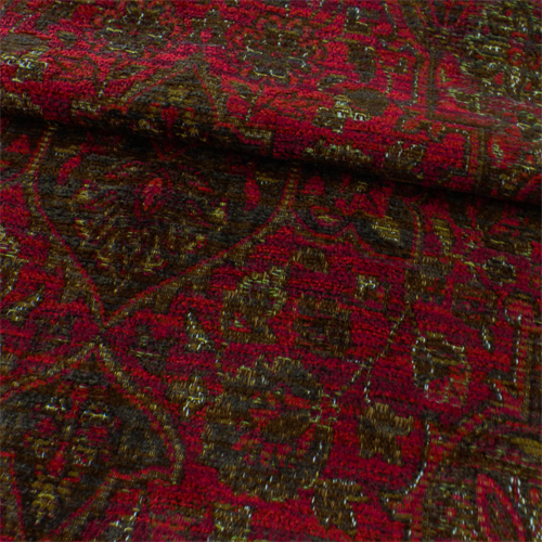 Oriental Red Chenille Tapestry Home Decorating Fabric Dfw50149