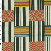 Patchwork Stripe Jaquard Upholstery Fabric A New Variation On The Check Theme This Lively Woven Jacquard Lends Itself To Eclectic Mediterranean