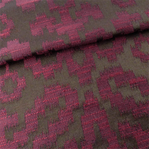 Ikat Home Decor Fabric: Brown/Mulberry Red Ikat Home Decorating Fabric