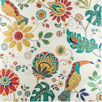 Multicolor/Ivory Bird/Floral Home Decorating Fabric