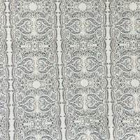 Cream/Navy Paisley Scallop Cotton Ottoman