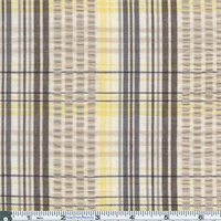*3 5/8 YD PC--Yellow/Navy Relaxed Plaid Cotton Seersucker