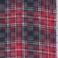 Bright Red/Black Plaid Leno Gauze