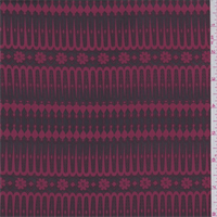 Wine Red Floral Stripe Crepe de Chine