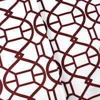 Designer Burgundy/White Rimwork Print Velveteen Performance Home Decorating Fabric