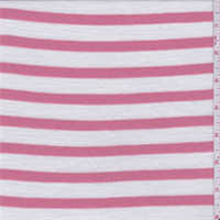 Coral Pink/White Stripe Sweater Knit