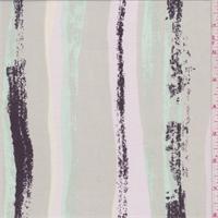 Sage Grey/Pink Multi Stripe Rayon Challis Lawn