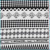 White/Black Decorative Stripe Rayon Challis