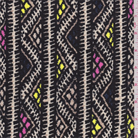 Black Zig Zag Stripe Cotton Lawn