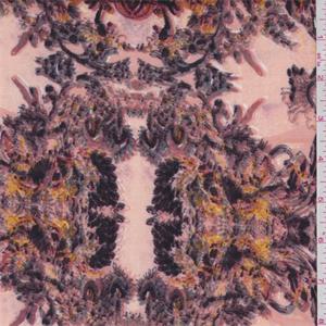 Peach Burgundy Baroque Print Scuba Double Knit 60734