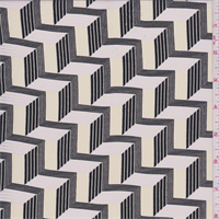 Yellow/Beige/Black Zig Zag Crepe de Chine