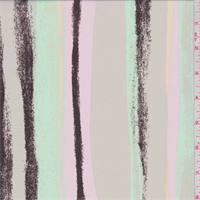 Taupe/Pink/Mint Brushstroke Stripe Crepe de Chine