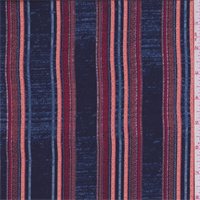 Navy/Orange Multi Stripe Crepe de Chine