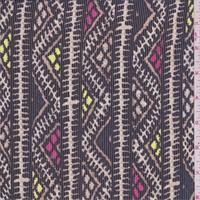 Black/Multi Zig Zag Stripe Chiffon