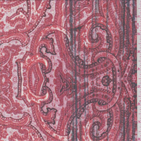 Fire Red Paisley Crinkled Chiffon