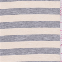 Cream/Heather Grey Stripe Slubbed Jersey Knit