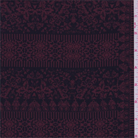 Black/Cranberry Patchwork Scroll Crepe de Chine