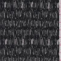 Black/Sterling Wicker Print Crepe de Chine