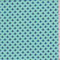 Aqua Green/Sky Blue Printed Twill Challis