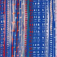 Sapphire Blue Multi Stripe Crepe