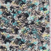 Beige/Aqua/Black Floral Rayon Faille