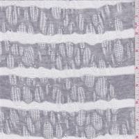 Grey/White Stripe Pointelle Sweater Knit