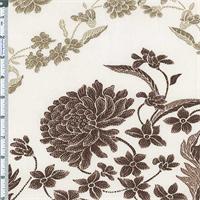 *2 1/2 YD PC--Beige/Brown Garden Nectar Print Cotton
