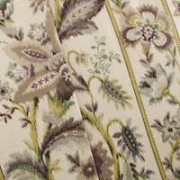 Designer Purple/Ivory Ikat Floral Stripe Cotton Print Home Decorating Fabric