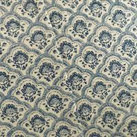 Blue Designer Scallop Cotton Print Decorating Fabric