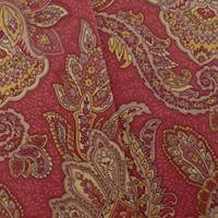 Designer Cotton Paisley Red/Beige Print Home Decorating Fabric