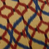 Designer Cotton Red/Blue Izmir Ikat Ogee Print Home Decorating Fabric