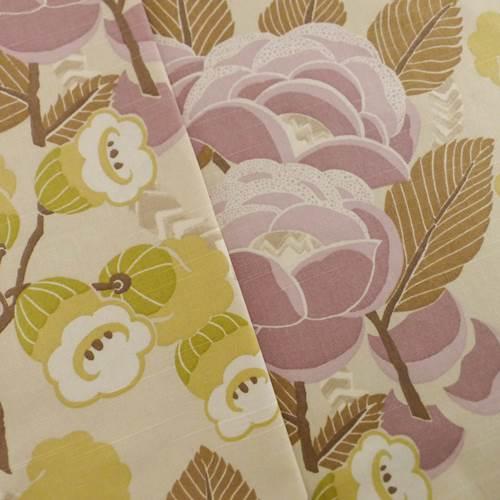 Designer Cotton Pink Beige Floral Print Pink Home Decorating Fabric