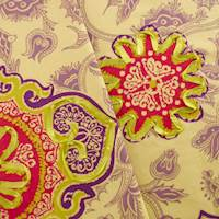 Cotton Blend Designer Multicolor Ribbon Print Home Decorating Fabric