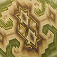 Designer Cotton Green/Brown Diamond Maze Print Home Decorating Fabric